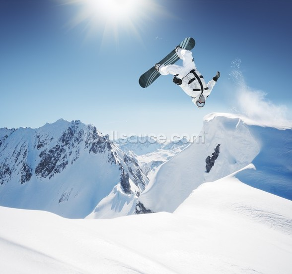 Snowboarding wall mural
