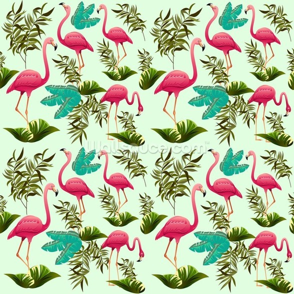 Pink Flamingo Pattern wall mural