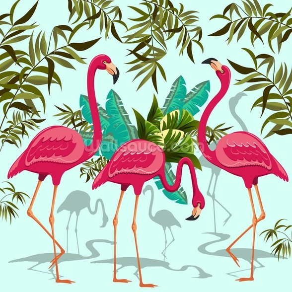 Tropical Pink Flamingos mural wallpaper