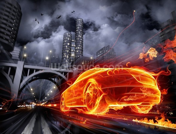 Fire Car wall mural