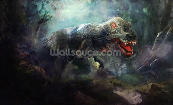 Dinosaurs - Tyrannosaurs Rex Hunting in Woods wall mural