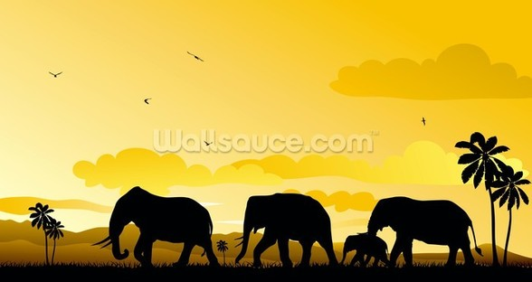 Elephants Cartoon mural wallpaper