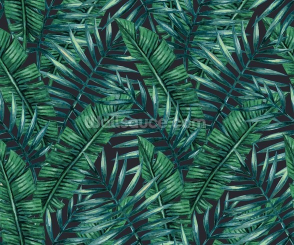 Dark Tropical Leaves Jungle Wallpaper mural wallpaper