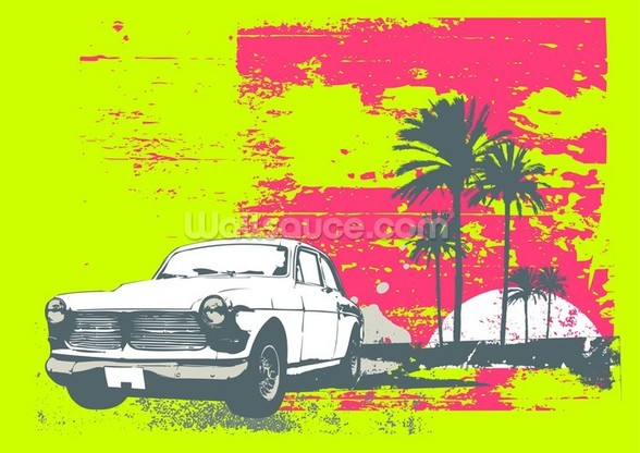 Retro car wall mural retro car wallpaper for Car mural wallpaper