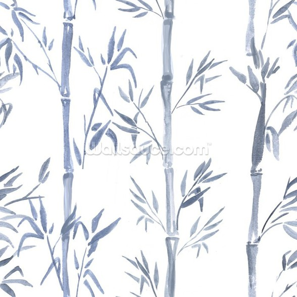 Bamboo Leaves Watercolour wall mural