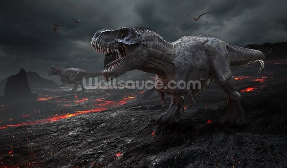 Dinosaurs Fire mural wallpaper