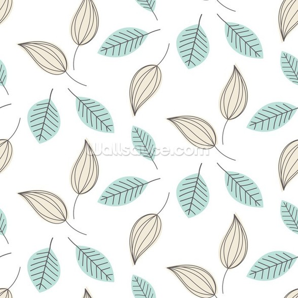 Blue and Beige Leaves mural wallpaper