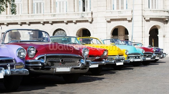 Colorful American Classic Cars wallpaper mural