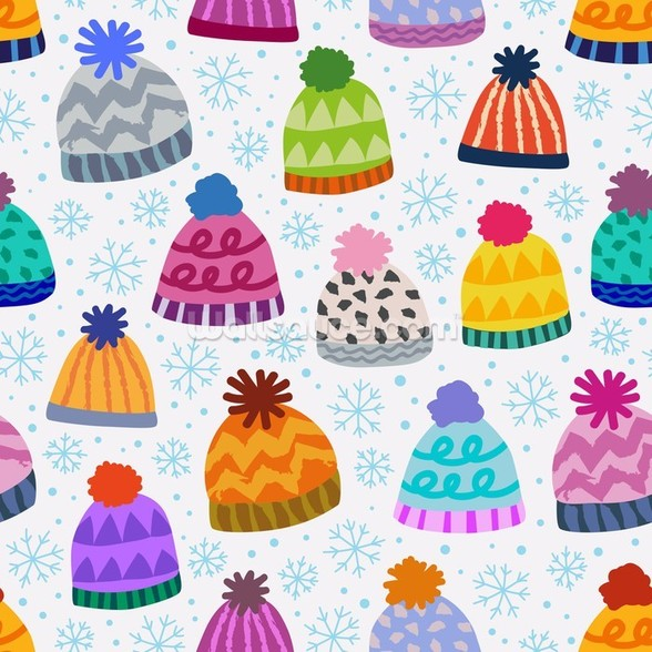 Colourful Bobble Hats wall mural