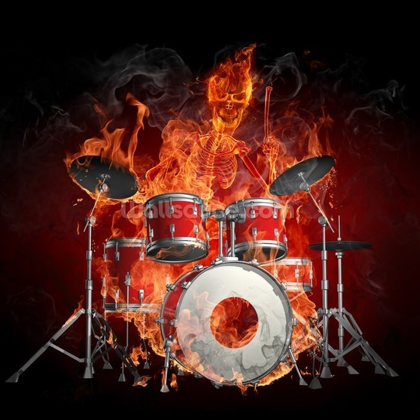 Drummer on Fire wallpaper mural