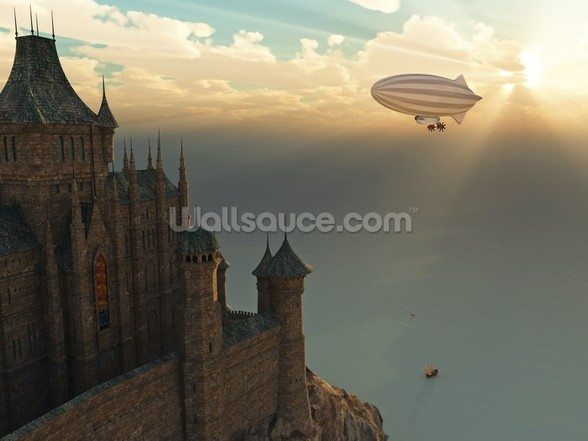Fantasy castle and flying zeppelin mural wallpaper
