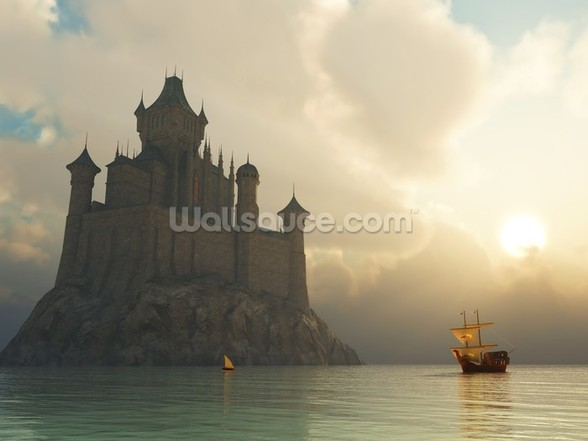 Fantasy castle at sunset wall mural