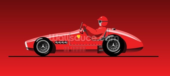 Retro Red Racer mural wallpaper