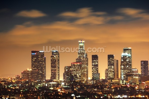 Los Angeles Skyline Sunset wall mural