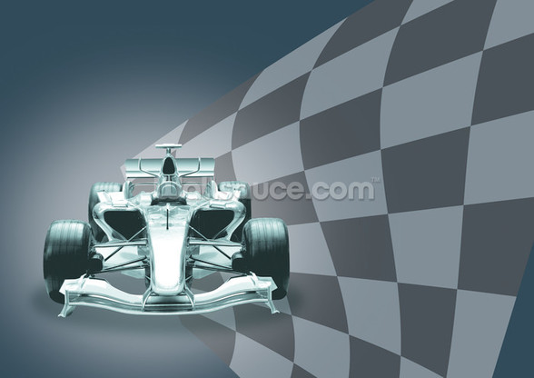 Formula 1 Car and Flag wallpaper mural