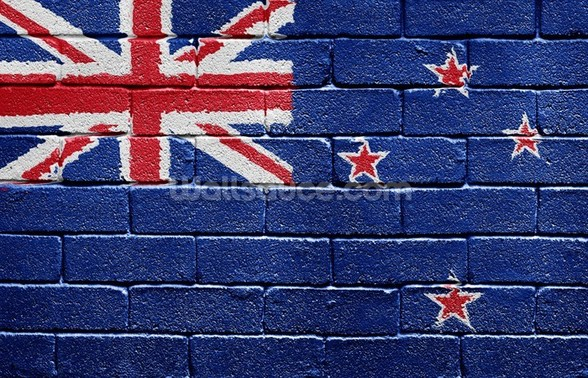 New Zealand Flag on Brick Wall wallpaper mural