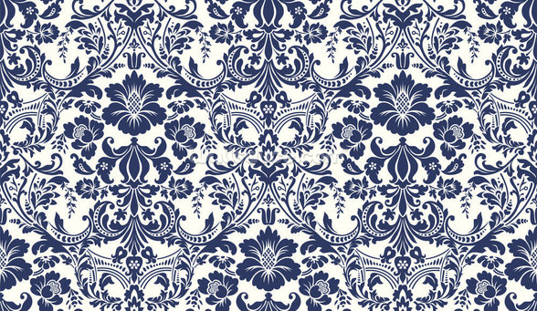 Blue Damask Pattern wallpaper mural