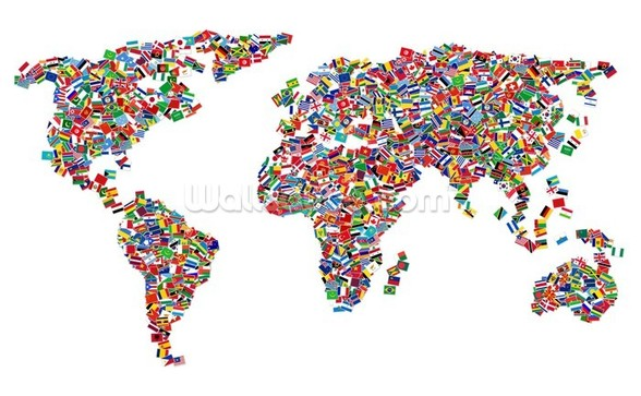 World Map of Flags wall mural