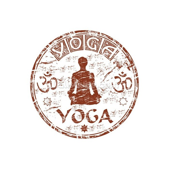 Brown grunge yoga rubber stamp wall mural