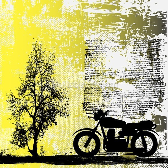 Motorbike Illustration wall mural