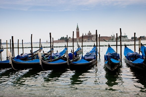 Blue Gondolas mural wallpaper