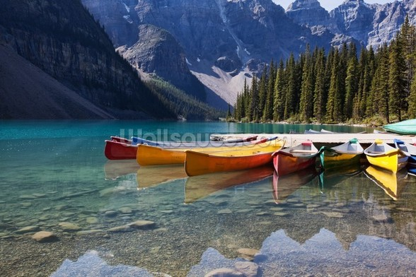 Moraine Lake Canoes wall mural