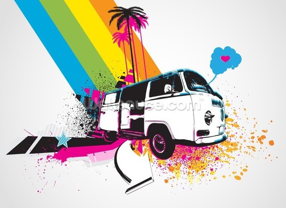 Retro Camper Van Illustration mural wallpaper