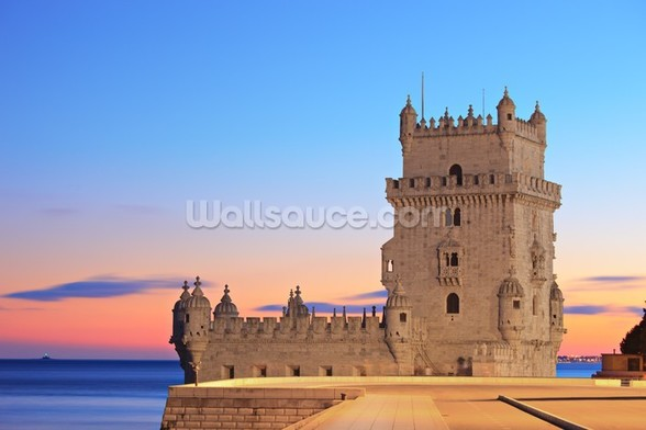 Lisbon - Tower of Belem at Sunset mural wallpaper