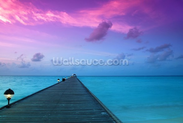 Sunset in the Maldives wall mural