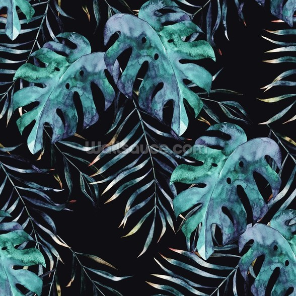 Black with Tropical Leaves Palm Wallpaper mural wallpaper