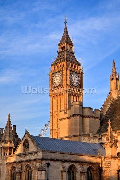 Big Ben and Westminster Abbey mural wallpaper