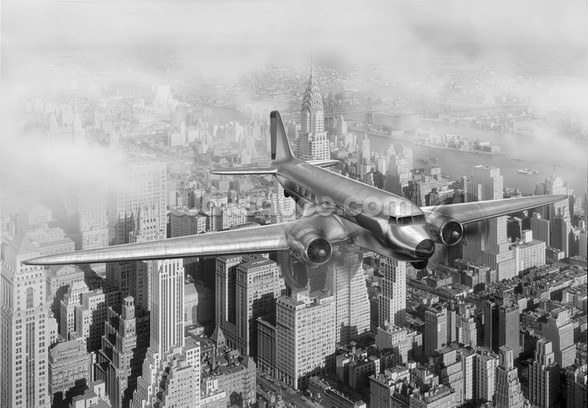DC-3 Over NYC mural wallpaper