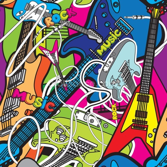 Colourful Music mural wallpaper