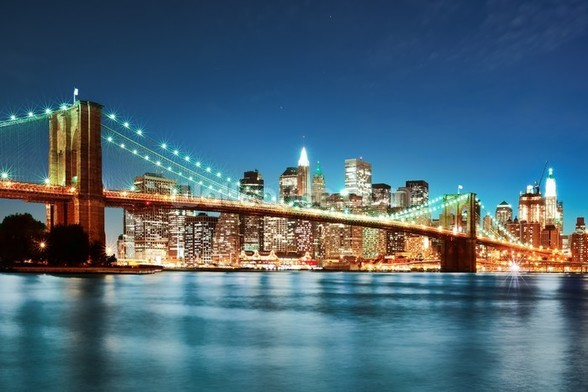 Brooklyn Bridge at Night wall mural