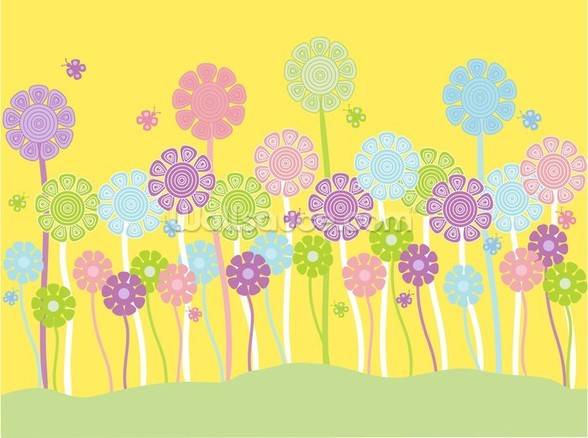 Pastel Flowers Nursery mural wallpaper