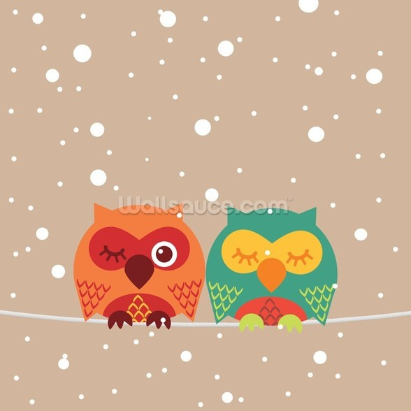 Two Owls wall mural