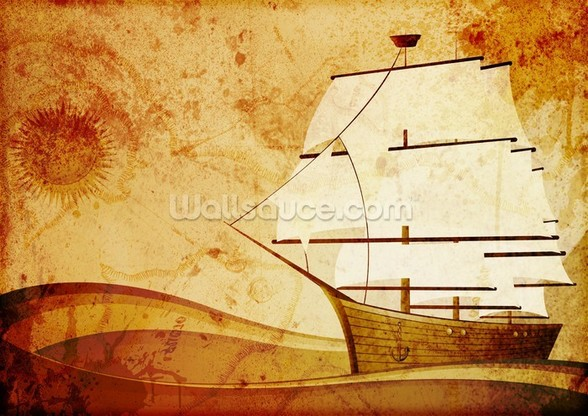 Old Sail Ship mural wallpaper