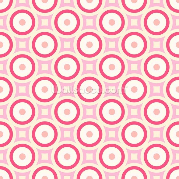 Circles - Red and Pink wall mural