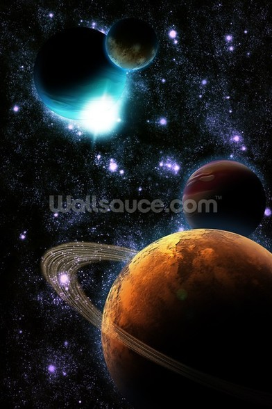Abstract planet with sun flare in deep space - star nebula wall mural