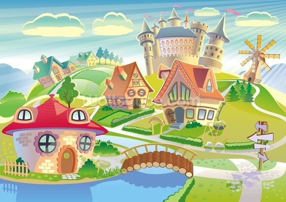 Fairytale Land and Castle wall mural
