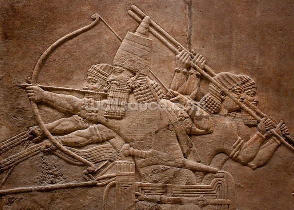 Ancient relief of Assyrian warriors fighting in the war wallpaper mural