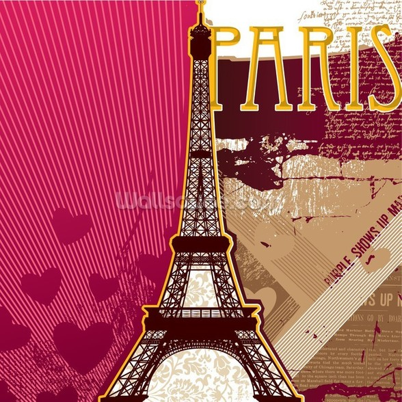 Pink Paris wall mural