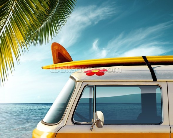 Surf Board Camper Van wallpaper mural