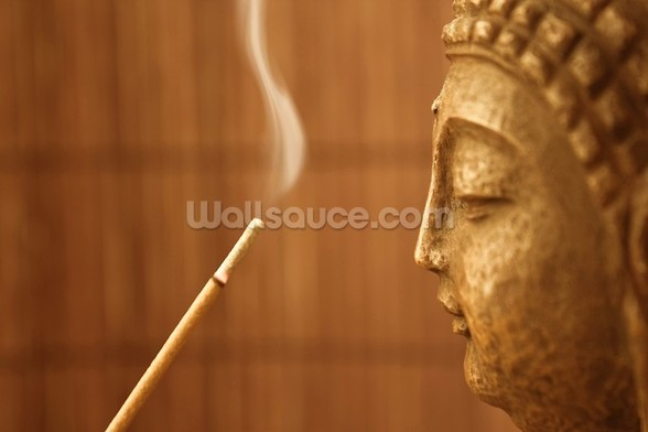 Zen Temple - Smoke Meditation with Buddha wall mural