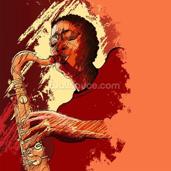 Jazz Saxophonist wall mural