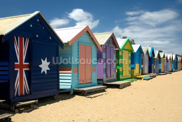 Colourful Beach Huts wall mural