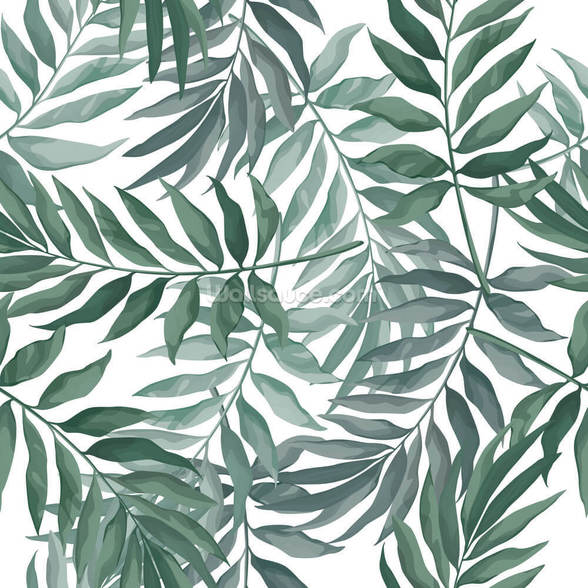 Green Leaves Watercolor mural wallpaper