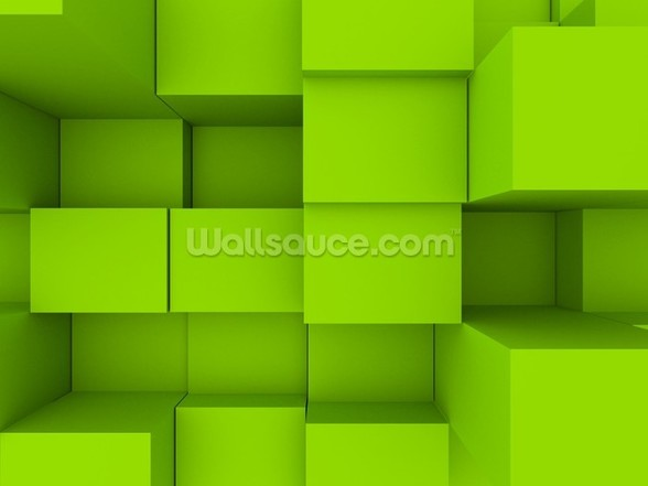 3D blocks wall mural