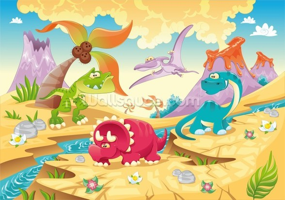 Dinosaurs Cartoon wall mural