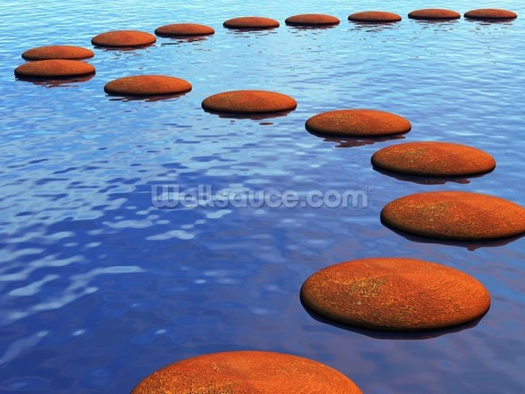 Stepping Stones in Water mural wallpaper